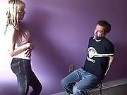 Guy Tied To The Chair And Gagged By Girl