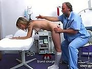 Blonde gyno exam. Detailed full body and puss
