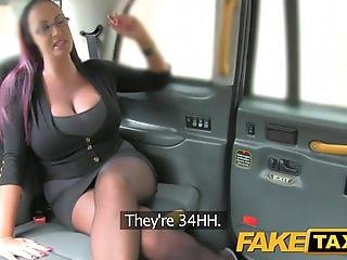 FakeTaxi Lady with glasses and huge tits