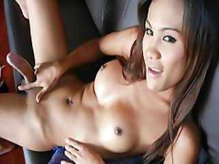 Asian Tranny Rin Having Fun With A Dildo