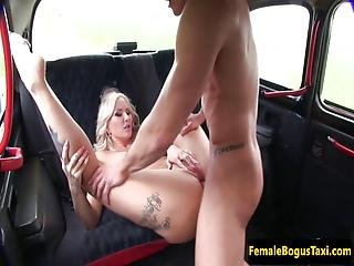 Busty British Cabbie Ass Fucked On Backseat