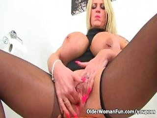 English Milf Shannon Blue Finger Fucks Her Fanny