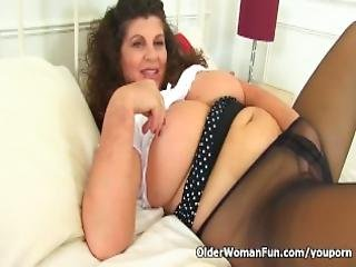 Buxom Milf Gilly From The Uk Is Made For Fucking In Her Black Tights