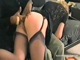 After A Spanking Milf Takes Anal From His Black Friend