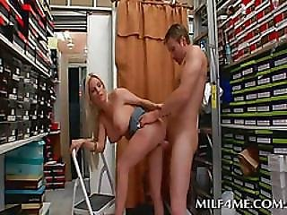 Chesty Mom Blows And Fucks Teen Cock At Work