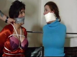 Jj&vanessa Hogtied And Tape Gagged!