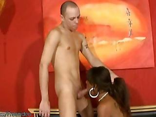 Black T-girl Cutie In Stockings Deepthroats Long White Cock