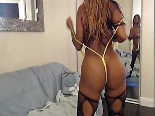 Busty Ebony Nyla Storm Bouncing Her Big Butt And Fucking Her Toys On Webcam