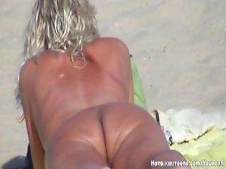 Blonde Milf Nude Beach Voyeur Hidden Cam Video