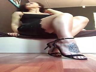 Russian Slut Alexandra Buslaeva In Leather Skirt & Sandals