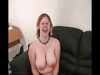 Big Boobed Geek Dildos Herself Till She Cums