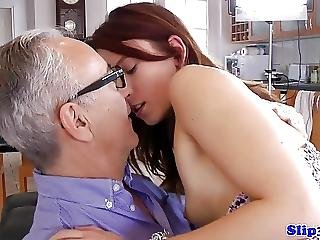 European Teen Amateur Fucks British Geriatric