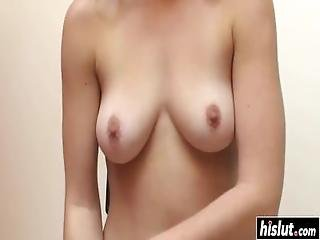 Beautiful Blonde Plays With A Machine