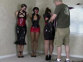 Belle Davis And Sahrye And Andrews In Latex Bondage