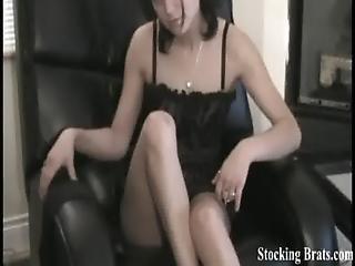 Watch Me Slide My Sexy Black Stockings Up My Legs