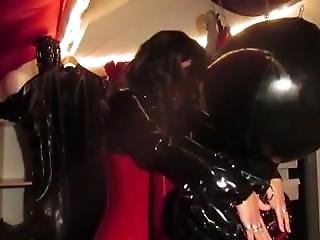 Rubber Mistress Bondage With Rubber Slave