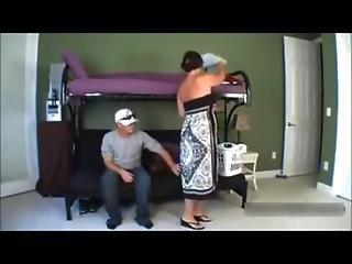 Horny chubby mom fucked by son