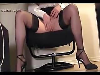 Hidden Cam Recorded Secretary In Stockings Under The Desk