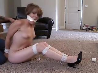 She Is Left Hogtied Nude With A Crotchrope To Give Her Some Pleasure