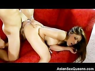 Asian Honey Fucked, Jizzed On And Eats Chow Mien