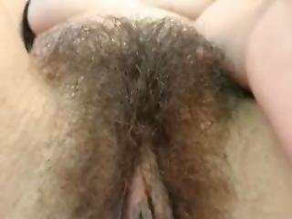 Girl Play With Her Lovely Hairy Pussy
