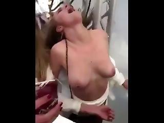 slet, hardcore, publiek, realiteit, ruw, sex, kleine tieten, Tiener, trio