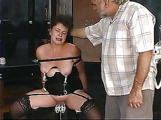 Bdsm, Brunette, Dungeon, Mature, Nylon, Old, Threesome, Torture