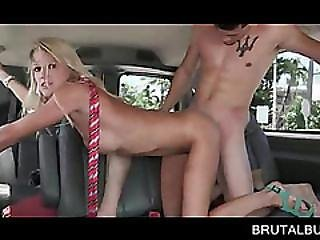 Skinny Blonde Goes Hardcore In The Sex Bus