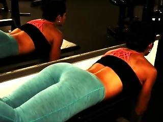 Hot Brunette In Tight Blue See-through Leggings Ass Workout Panty Flashing!