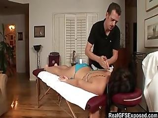 Realgfs - Hot Brunette Gets Wet From Oil Massage