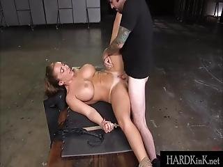 Big Tit Brunette Bound Fucked