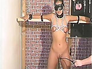 Freaky Natural Titted Brunette Enjoying Bdsm Pleasuring