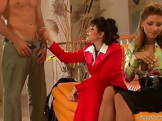 Two Girls Get Fucked In Shiny Glossy Tan Nylon Pantyhose