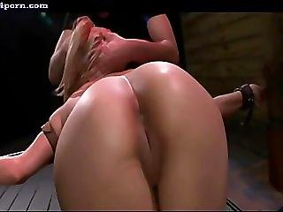 Chained blonde getting screwed