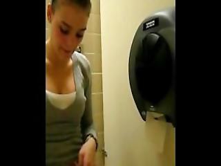 Masturbating In Public Toilet