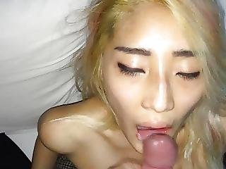 Blond Asian Cum In Mouth