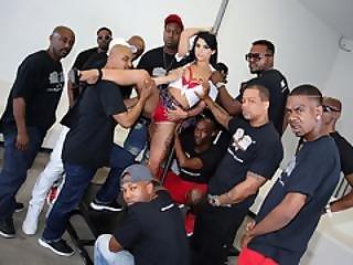 Gina Valentina Interracial Blowjob Orgy