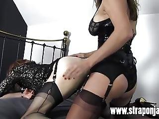 Femdom Strapon Jane Fucks Tranny Sluts Tight Ass From Behind