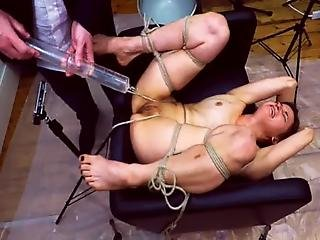Miss April Suffers An Inverted Glass Injection Enema