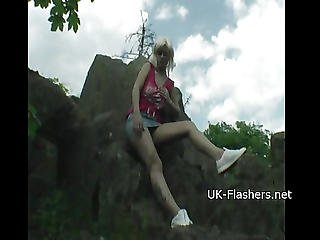 Teen Blonde Flashers Outdoor Striptease Of Young Amateur Exhibitionist Emma Showing Tits And Exposing Herself For Voyeur Watchers