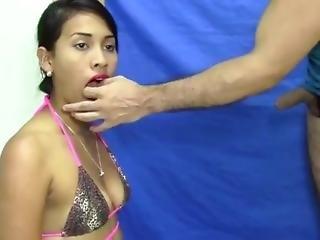blowjob, brasiliansk, fjæsfuckning, kneppe, hardcore, latina, rå, sex