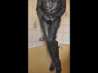 Leather Gloved Hand Stops Pissing