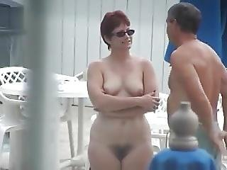 Cute Mature With Full Bush Nude By The Pool