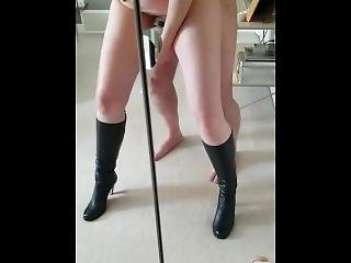 Fucking Wife Wearing Boots In Mirror With Hitachi
