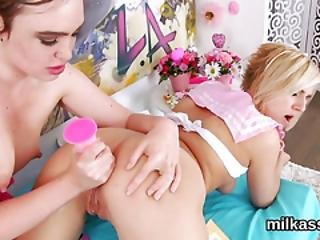 Slutty Lesbians Fill Up Their Enormous Asses With Whipped Cream And Splatter It Out