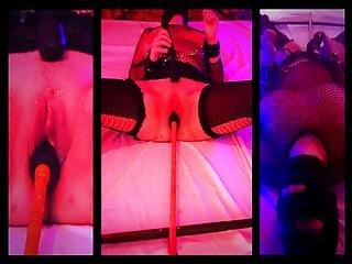 Bbw Tied On The Spreader Bar And Orgasm (split Screen)