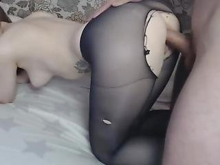 Fucked A Sweet Girl In Ripped Pantyhose