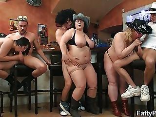 Hot Fat Orgy In The Bar