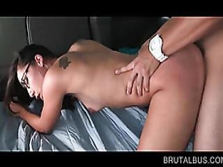 Skinny Babe In Glasses Fucked On The Bus Floor
