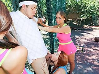 Tennis Coach Cocks Kinky Teens On The Court